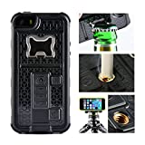iPhone 5 Case, Multi-functional Built-in Cigarette Lighter/Bottle Opener & Camera Stable Tripod Protective Shock Proof Cover for Apple iPhone 5/5S/5SE (Black)
