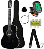 "Crescent MG38-BK 38"" Acoustic Guitar Starter Package, Black (Includes CrescentTM Digital E-Tuner)"