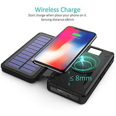 BLAVOR-Solar-Charger-Five-Panels-Detachable-Qi-Wireless-Charger-20000mAh-Portable-Power-Bank-with-Dual-Output-Type-C-Input-Flashlight-and-Compass-Kit-Black-20000mah