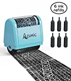 Azumic Confidential Address Blocker Anti Prevention Identity Theft Protection Roller Stamp 6 Pack Refills Light Blue