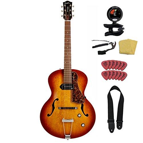 Godin 5th Avenue Kingpin P90 Jazz-Style Acoustic Electric Guitar Bundle , Cognac Burst