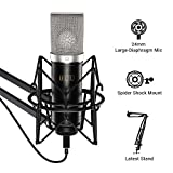 TONOR Cardioid Condenser Microphone, USB Computer Mic Kit with 24mm Diaphragm/Spider Shock Mount for Podcasting, Gaming, Streaming, YouTube, Voice Over, Studio/Home Recording, TC-2030