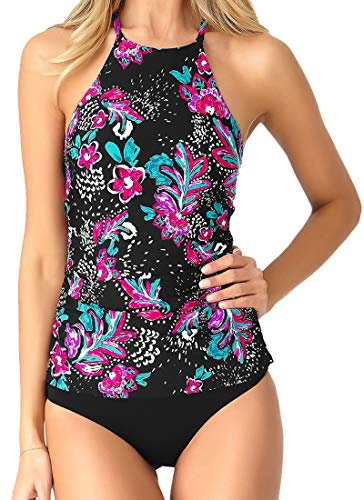 71mBeO5V7KL Two Piece Bathing Suit Set comes with Small top + Medium bottom Highneck Style Neckline Top with Skinny Caged Back Halter Straps Longer Length Ruched Tankini Top for Additional Coverage