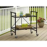 Product review for Serving Cart for Dining Room Outdoor Folding Rolling Wheels Serving Cart Bar wheels Portable Trolley Storage Home Kitchen Indoor Food Cocktail Living Room Foldable Shelves Metal Bronze