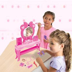 Agelloc Pretend Princess Girls Vanity Table Pretend Play Makeup Toy Table with Comb Hair Bands Hair Clip Fake Bottles