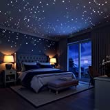 Glow In The Dark Stars Wall Stickers, 252 Dots and Moon for Starry Sky, Perfect For Kids Bedding Room Gift ,Beautiful Wall Decals by LIDERSTAR ,Delight The One You Love.