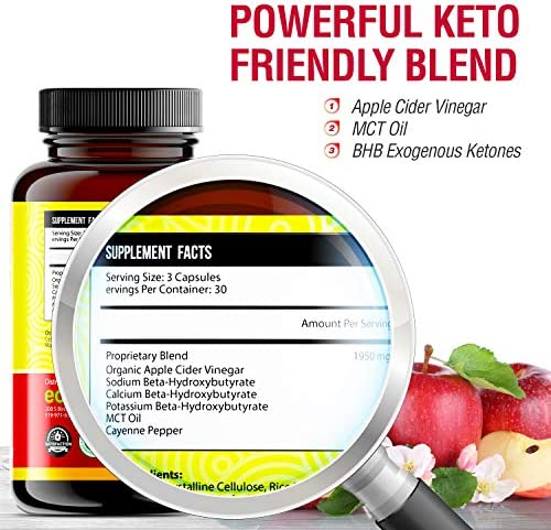 Apple Cider Vinegar Capsules with Mother + Keto BHB (High Potency 1950 mg), Keto Weight Loss Pills - Apple Cider Vinegar Pills for Weight Loss, Keto Pills Weight Loss, Keto Supplement 7