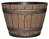 "Whiskey Barrel Planter, Distressed Oak, 9"" (Durable high density resin construction)"