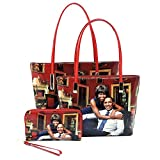 Glossy magazine cover collage Michelle Obama printed two stand alone tote bags and one matching wallet 3pcs set, 3 in 1 (Pic#B-MTRD)