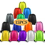KUUQA 15Pcs Multicolor Drawstring Backpack Bags Sports Cinch Sack String Backpack Bulk Storage Bags for Gym Traveling (Colorful)