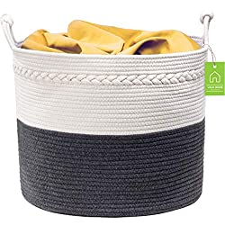 The Valk Home 100% all-natural cotton basket is designed to comfortably hold your belongings and give you piece of mind. Our team has identified and resolved a common problem found in most other baskets: poor handle design. We've re-engineered our ha...