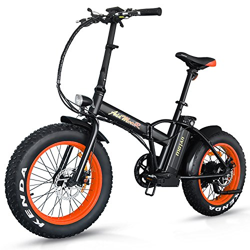 Addmotor MOTAN Mountain Electric Bikes 20Inch Fat Tire 500W 48V 4 Colors Folding Electric Bicycles M-150 E-bike Maximum Load Up to 300lbs(Orange)
