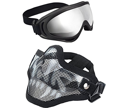 XCYT Tactical Airsoft Mask Adjustable Half Face Mask Steel Mesh Mask and Goggles Set for Hunting, Shooting, Paintball (Skull)