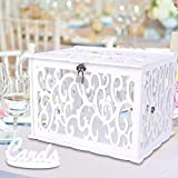 OurWarm Wmbetter DIY White Wedding Card Box with Lock PVC Card Box Graduation Card Box Perfect for Weddings, Baby Showers, Birthdays, Bridal or Baby Showers