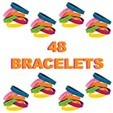 48 Inspirational Bracelets for Kids, Teens, and Adults   Motivational Sayings Rubber Bracelets for the Classroom, School, Church, Senior Centers   Great Party Favors, Classroom Prizes for Boys and Girls