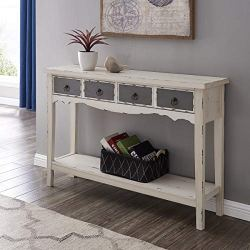 BELLEZE Hand Painted Distressed Antique White Finish Accent Console Table
