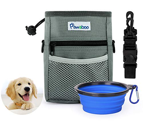PAWABOO Dog Treat Training Pouch Bag & Collapsible Silicone Food Water Bowl, with Adjustable Strap, Hands-Free Storage for Treats and Toys, Perfect for Pet Puppy Training Travel Doggie Walking, Gray 1