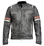 Product review for Spazeup Men's Vintage Motorcycle Cafe Racer Retro Moto Distressed Leather Jacket