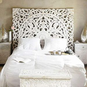 Balinese-Hand-Carved-King-Size-Bed-Headboard-Reclaimed-Wooden-Panels-Artwork-Handmade-Painted-in-Chiang-Mai-Thailand-72x72-Inches