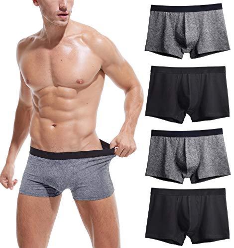 Robesbon Men's No Ride-up Boxer Briefs Stretch Comfortable Breathable Cotton Underwear 4 Pack XX-Large