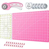 Pink Rotary Cutter Set - Quilting Kit incl. 45mm Rotary Cutter, 5 Replacement Rolling Blades, Cutting Mat, Acrylic Ruler and Craft Clips - for Crafting, Quilting, Sewing, Crochet and Knitting