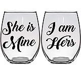 Gay Lesbian Wedding Gift Wine Glasses She is Mine, I Am Hers