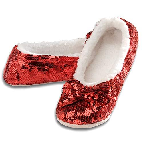 Snoozies Women's Ballerina Metallic Shine Red Sequin Slippers-Medium (7-8)
