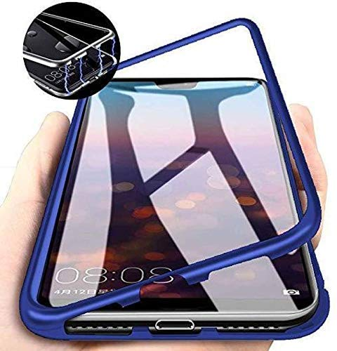 Aloin® Slim Mgnetic Flip with Metal Frame & Back Side Transparent Tempered Glass Back, Built-in Powerful Mgnet Flip Back Cover Case for Redmi A3 (Blue) 93