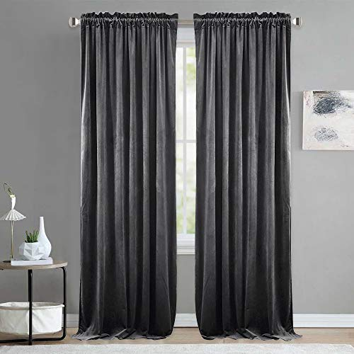 NICETOWN Living Room Blackout Velvet Curtains - Sound Reducing Heavy Matt Solid Rod Pocket Drapes/Panels (2 Panel Per Pack, 84 inch Long, Grey)
