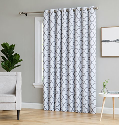 HLC.ME Lattice Print Thermal Grommet Blackout Patio Door Window Curtain for Sliding Glass Door - Platinum White & Grey - 100' W x 84' L - 1 Panel