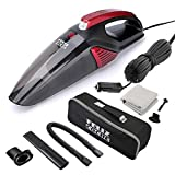 Felizcoche Car Vacuum Cleaner,High Power Portable Vacuum Cleaner for Car 12v Wet/Dry Strong Suction 5000PA with Stainless Steel Filter/LED Light/16.4Ft Power Cord (Black+Red)