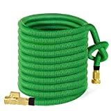 MoonLa 100ft Garden Hose, Expandable Water Hose with 3/4' Solid Brass Fittings, Extra Strength Fabric - Flexible Expanding Hose with Free Storage Sack