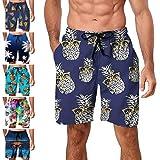 Freshhoodies Mens Hawaiian Swim Trunks Coconut Palm Tree Boardshorts with Mesh Lining Swimwear Bathing Suits Shorts (Style P1, XX-Large)