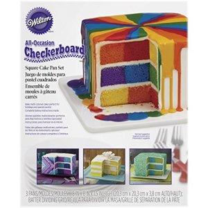 Wilton Checkerboard Square Cake Tin Set, Non Stick, 20.3 x 20.3 x 3.8cm (8in x 8in x 1.5in), 4 pieces 51HG0HEtFwL