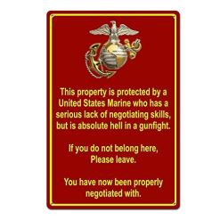 Property Protected by Marine Funny Tin Sign