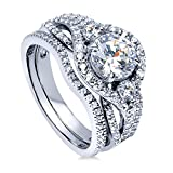 BERRICLE Rhodium Plated Sterling Silver Round Cubic Zirconia CZ 3-Stone Anniversary Engagement Wedding Ring Set 2.22 CTW Size 7.5