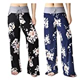 HIGHDAYS Pajama Pants for Women Floral Print Palazzo Pants Comfy Casual Lounge Pants with Wide Leg & Drawstring (XXL, Group C 2 Packs)