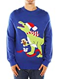 Product review for Men's Ugly Christmas Sweater - Blue T-Rex Sweater