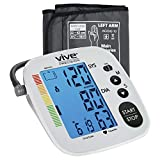 Vive Precision Blood Pressure Cuff - Heart Rate Monitor Machine - Automatic BPM Sphygmomanometer Heartbeat Measurements for Hypertension Diagnosis, Accurate Pulse Readings - Upper Arm Cuff (Silver)
