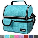 OPUX Deluxe Thermal Insulated Dual Compartment Lunch Bag for Boys, Girls | Double Deck Reusable Lunch Box for Men, Women with Shoulder Strap | Large Soft Lunch Pail for Work, School (Turquoise)