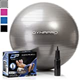 DYNAPRO Exercise Ball - 2,000 lbs Stability Ball - Professional Grade - Anti Burst Exercise Equipment for Home, Balance, Gym, Core Strength, Yoga, Fitness, Desk Chairs (Silver, 45 Centimeters)