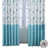 BROSHAN Cotton Linen Curtain Drapes, Modern Abstract Nautical Blue Ocean Starfish Room Window Darkening Curtain Panels, Top Grommet Treatment Draperies Thermal Insulated, 57 W x 96 L Inch, 1 Panel
