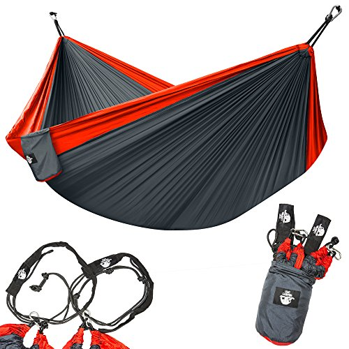 Legit Camping Double Hammock with Nylon Straps and Steel Carabiners - Red/Grey