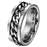 FANSING 8mm Silver Chain Spinner Stainless Steel Rings for Mens & Womens Wedding Bands Size 8