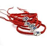Omonic MAYMII·Home 6 pcs Lucky Hamsa Red String Line Kabbalah Bracelets Bracelet Bangle Braided String Cord and Rotating Evil Eye Hamsa Hand - Jewish Amulet Pendant Jewelry for Success and Lucky