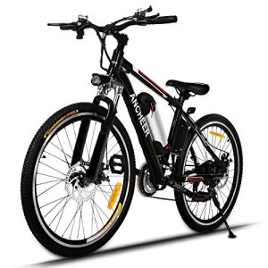 "ANCHEER Power Plus Electric Mountain Bike, 26"" Electric Bike with Removable 36V 8Ah Lithium-Ion Battery, Shimano 21 Speed Shifter"