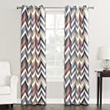 Sun Zero Genaro Chevron Print Thermal Insulated Grommet Curtain Panel, 40' x 95', Mocha Brown