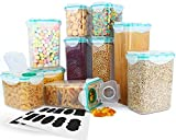 Cereal Container, VERONES Airtight Plastic Storage Containers Perfect for Food Storage Containers Kitchen Storage Containers (1.7 Inch Diameter Round Mouth Not for Big Cereal) 10 Pack
