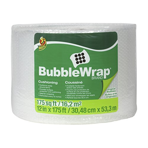 Duck Brand Bubble Wrap Roll, Original Bubble Cushioning, 12' x 175', Perforated Every 12' (1053440)