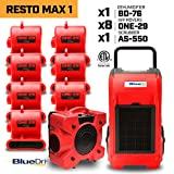 BlueDri RESTO MAX 1 8X 1/3 HP One-29 Air Movers Carpet Dryer Blower Floor Fan 1x 76 Pint Commercial Dehumidifier 1x Air Scrubber Negative Air Machine Water Damage Equipment, Red